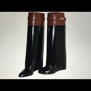 Givenchy black blown leather, pants leg boots.